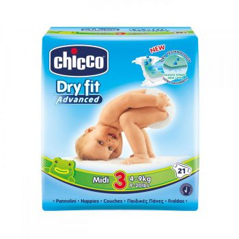 Scutece Chicco Dry Fit Advanced Midi, nr.3, 4-9kg, 21buc