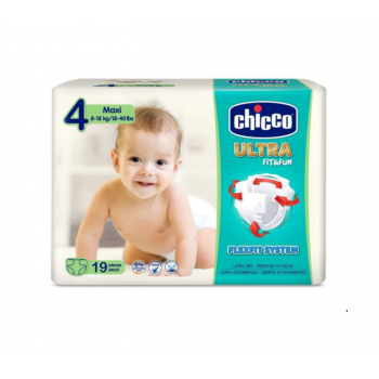 Scutece Chicco Ultra Fit & Fun Maxi, nr.4, 8-18kg, 19buc