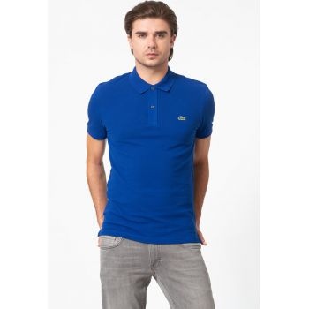 Tricou polo slim fit din material pique