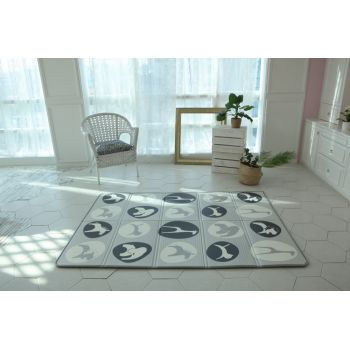 Saltea Sobble Black and White Animals pliabila 1.4m 100 sigura eco-friendly GriAlb