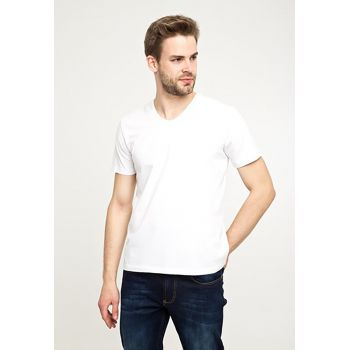 Tricou regular fit cu decolteu in V